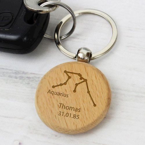 Aquarius Zodiac Star Sign Wooden Keyring (January 20th - February 18th)